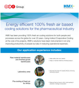 Energy efficient 100~~ fresh air based cooling solutions for the pharmaceutical industry