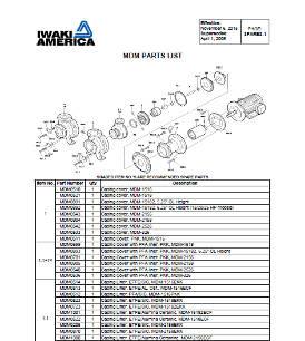 Iwaki MDM parts list