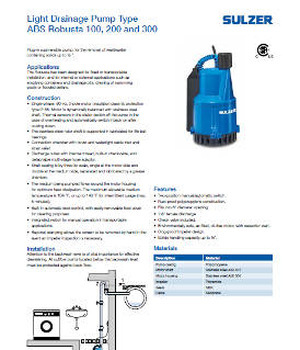 Light Drainage Pump Type ABS Robusta 100, 200 and 300