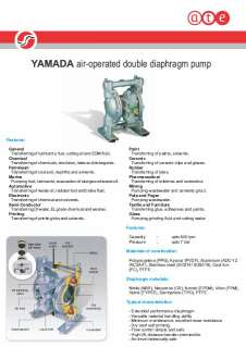 Yamada air operated double diaphragm pumps