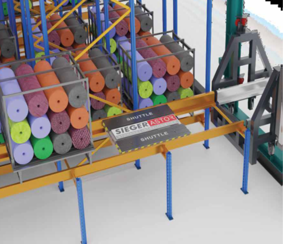Automatic Storage and Retrieval System with Radio Shuttle